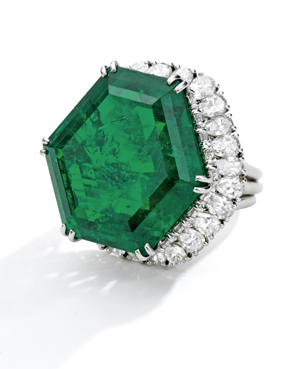 The Magnificent and Legendary Stotesbury Emerald, in a ring by Harry Winston, weighing approximately 34.40 carats.