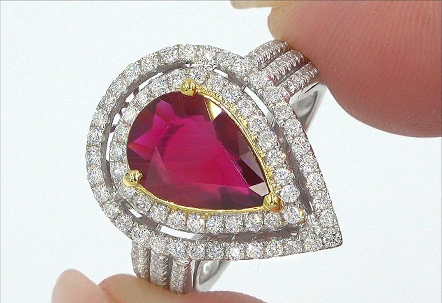 GIA 3.49 ct UNHEATED Natural VVS Red Ruby Diamond 14k White Yellow Gold Ring