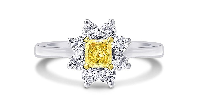 0.69Cts Yellow Diamond Engagement Halo Ring Set in 18K White Yellow Gold GIA