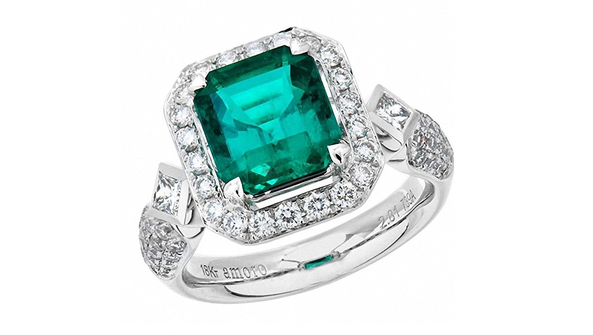 Amoro 18k White Gold Colombian Emerald Ring and Diamond Ring (0.88 cttw, G-H Color,VS2-SI1 Clarity)