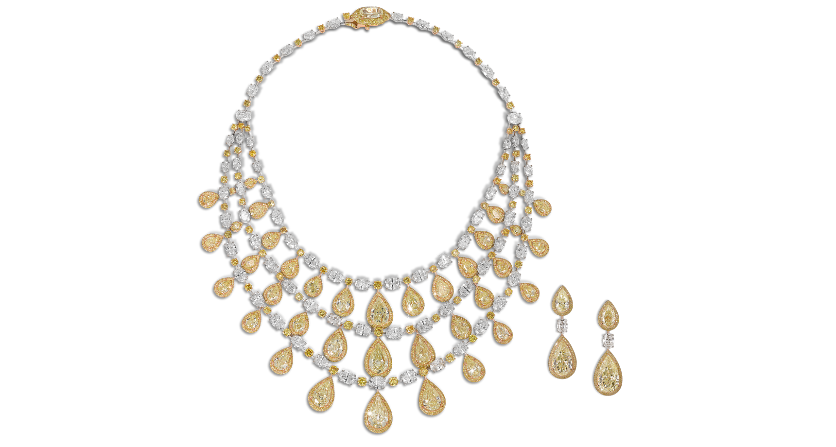 Yellow pear shape diamond necklace with white marquise and pear cut diamonds