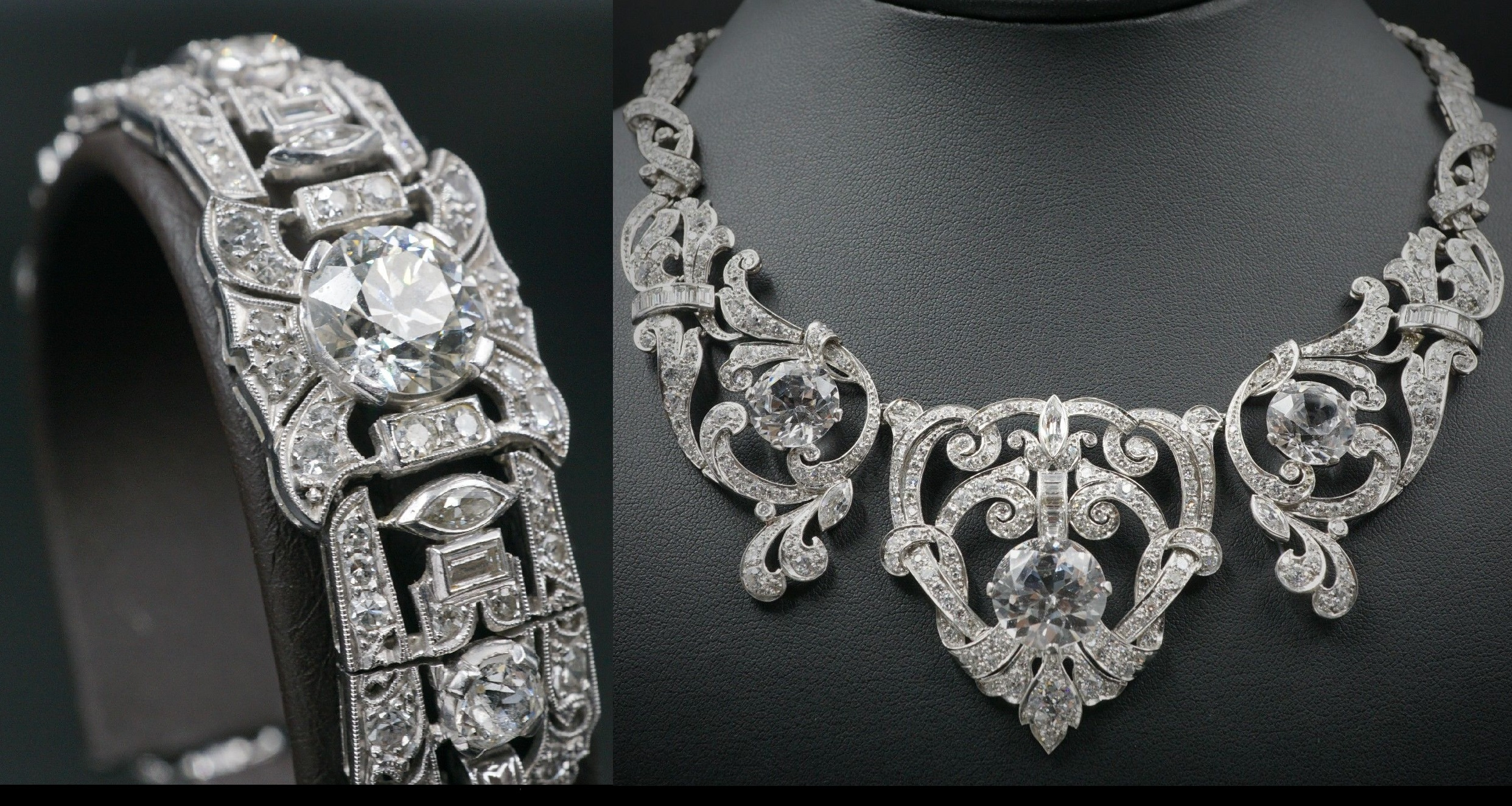 Mae West Owned Edwardian Platinum 23ct Diamond Necklace Bracelet Suite