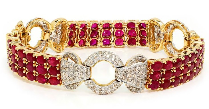 19.50 ctw Estate Vintage Ruby Link Bracelet with Diamonds in 14K Two Tone Gold