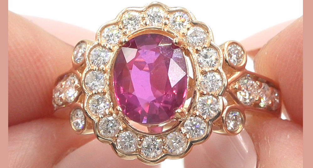 GIA Certified 2.91 ct UNHEATED Natural VS Red Ruby Diamond 14k Gold Estate Ring