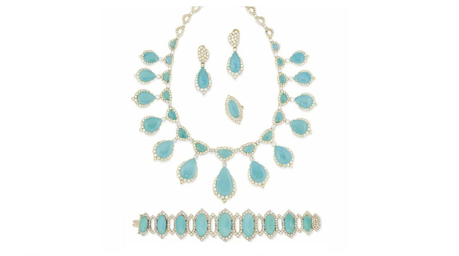 A TURQUOISE AND DIAMOND SUITE Estimate GBP 25,000 - GBP 30,000 (USD 31,700 - USD 38,040)