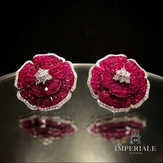 Roses are red. Gorgeous Ruby and Diamond Earrings