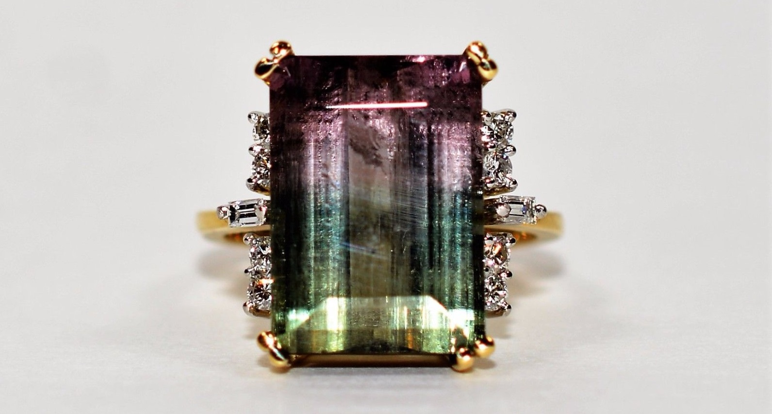 Rare Untreated Morro Redondo 11.87tcw Watermelon Tourmaline 18k Yellow Gold Ring