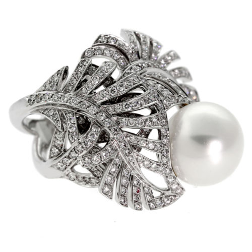 Chanel Pearl Diamond 18k White Gold Ring