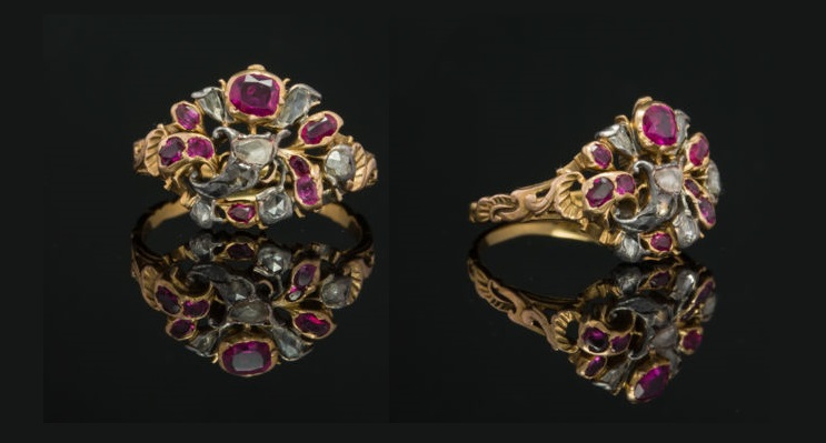 Georgian Rare Natural Ruby and Diamond Gianrdinetti Antique Ring