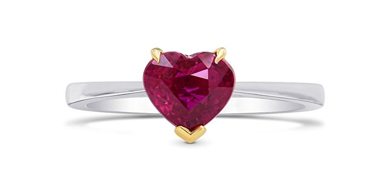 1.43 Ct Ruby Gemstone Engagement Ring Set in 18K White Yellow Gold