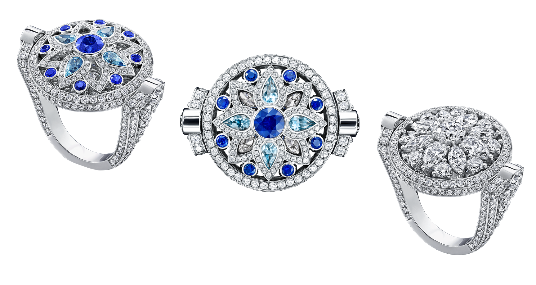 Secret Wonder by Harry Winston, Reversible Diamond, Sapphire and Aquamarine Ring