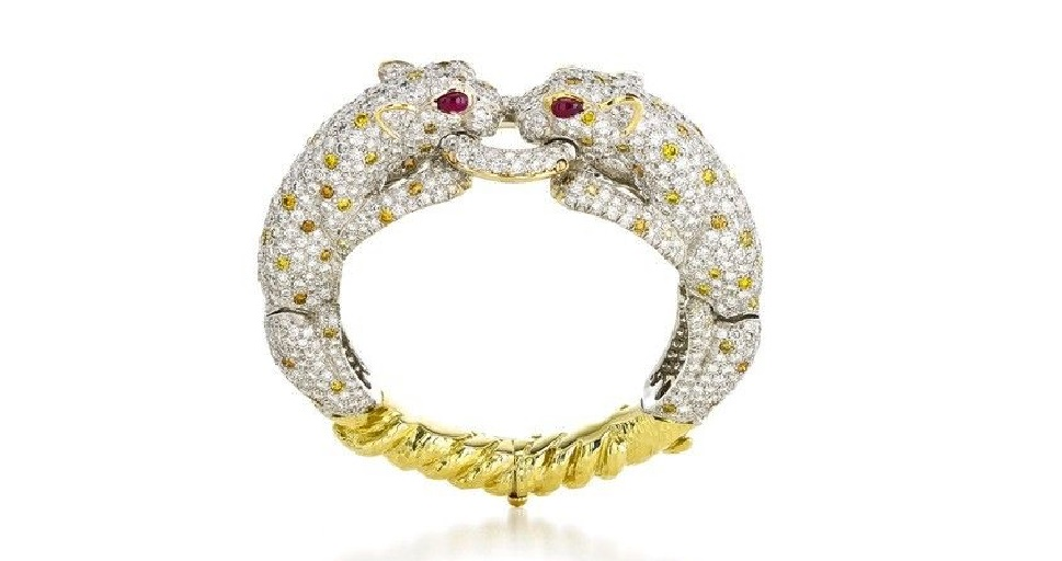 David Webb Couture - Twin Leopard Bracelet - Brilliant-cut diamonds and colored diamonds, cabochon rubies, 18K gold, and platinum