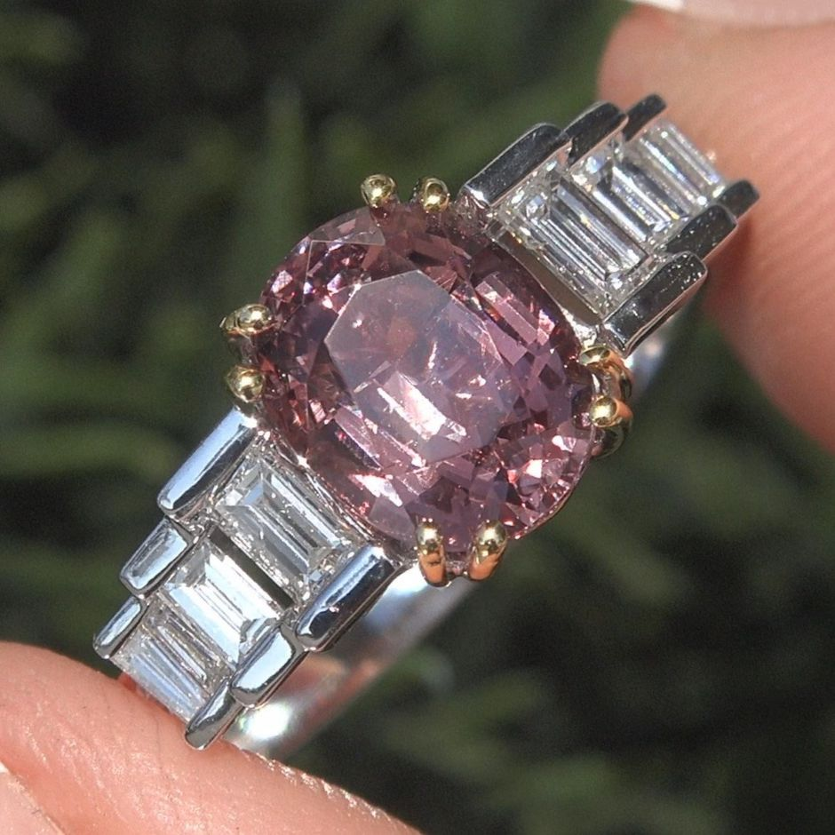 GIA Certified UNHEATED Natural Pink Spinel Diamond 14k Gold Ring VS 3.66 TCW