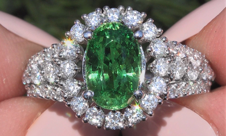 GIA Certified Yellowish Green Tsavorite Garnet Diamond 18k Gold Ring 3.66 CWT