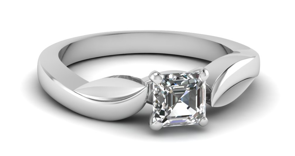 Solitaire Leaf Contour Engagement Ring 1 Carat Asscher Cut Diamond VS2-F Color