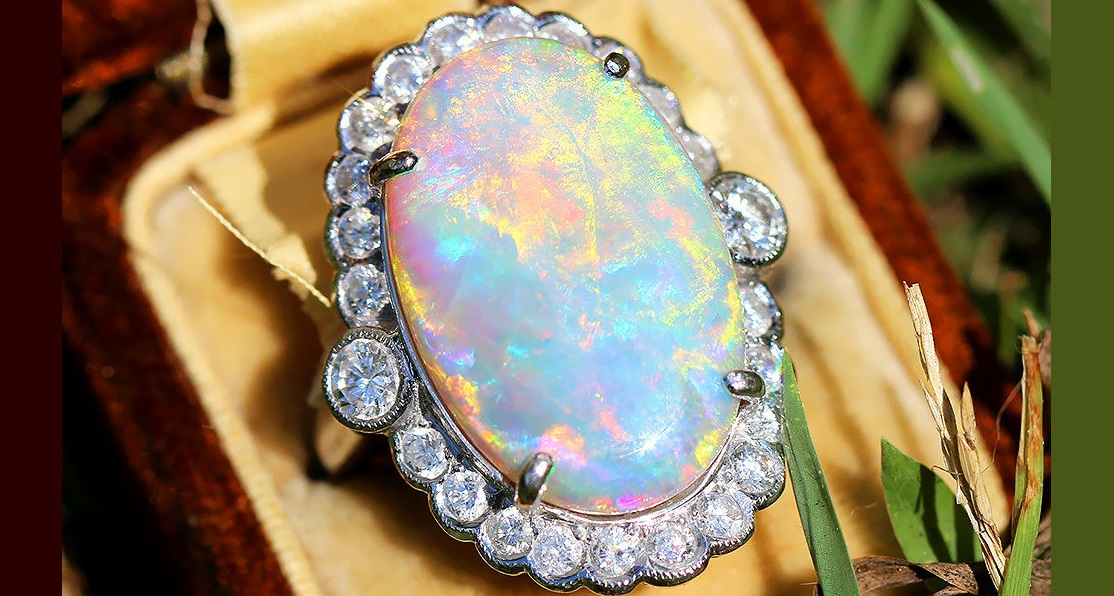 Vintage Oval Australian Opal Ring with Diamonds in 18kt White Gold 9.94ctw