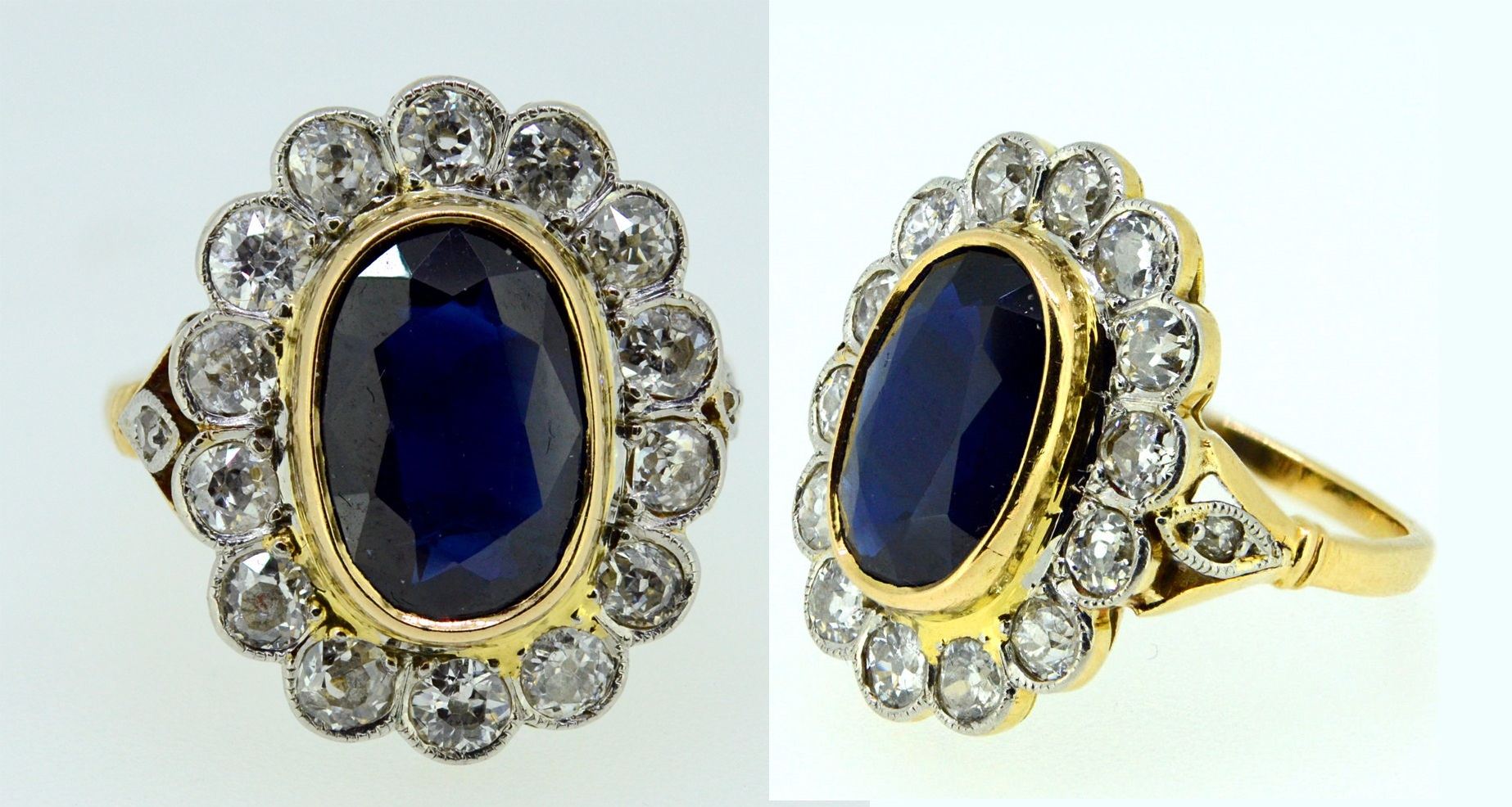 Antique Victorian 2.50Ct Burma Sapphire Diamond Cluster Ring 18K Gold
