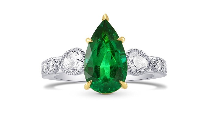 3.54Cts Emerald Side Diamonds Engagement Side Stone Ring Set in Platinum