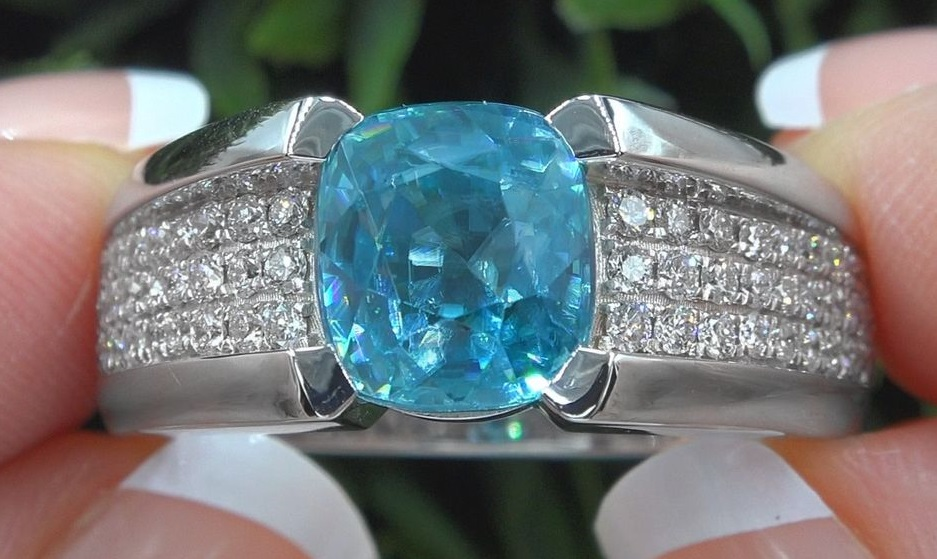 Certified Natural Blue Zircon Diamond Ring Solid 18k White Gold Unisex 8.68 TCW