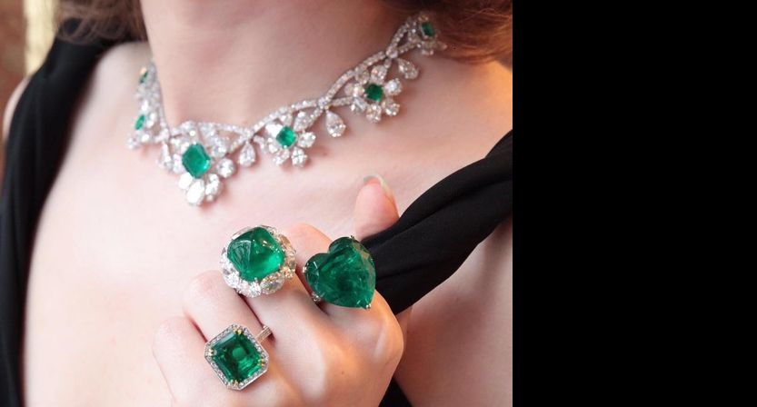 magnificent emerald rings on a visit to the Moussaieff flagship store on Bond Street: Colombian Emerald Cabochon- 19.88 cts; Colombian Emerald Minor - 33.31 cts; Colombian Emerald NTE - 6.88 cts Emerald Necklace - Emeralds NTE - 12.53 cts and diamonds - 73.53 cts.