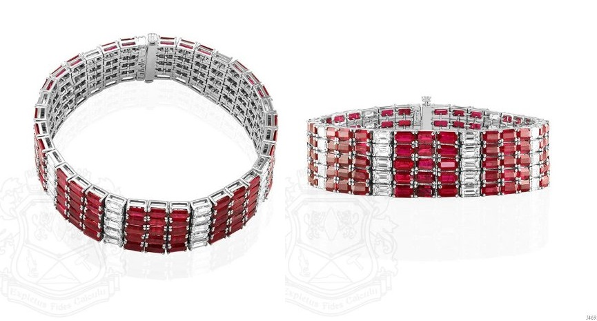 Gorgeous 18K White Gold, Emerald Cut Ruby and Diamond Wide Bracelet, signed: La Belle.