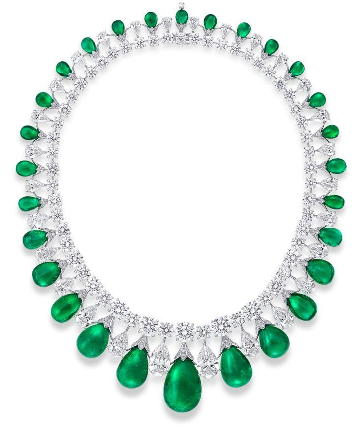 Cabochon Drop Emerald and Diamond Necklace A breathtaking three dimensional design incorporating exceptionally rare stones within this highly unique necklace. Featuring 28 graduating emeralds which lead the eye fluidly to a central single outstanding 38.68 carat pear shape cabochon emerald. This innovative setting protects each delicate cabochon from touching the next and is the epitome of stunning craftsmanship. Diamonds 100.88cts, Emeralds 199.82cts