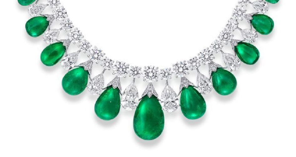 Cabochon Drop Emerald and Diamond Necklace by Graff Diamonds