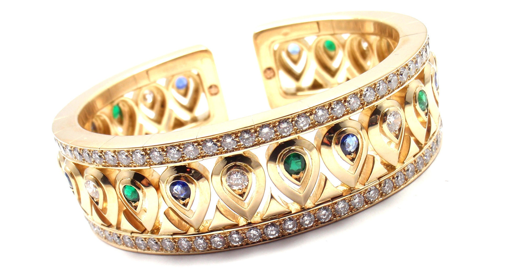 Cartier 18k Yellow Gold Diamond Sapphire Emerald Cuff Bangle Bracelet.