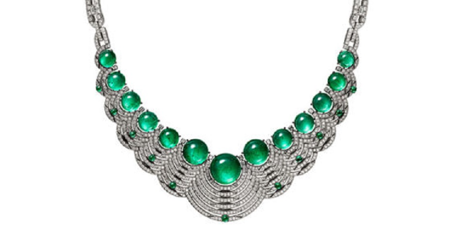 Résonances de Cartier High Jewelry Necklace Platinum, Emeralds, and Diamonds