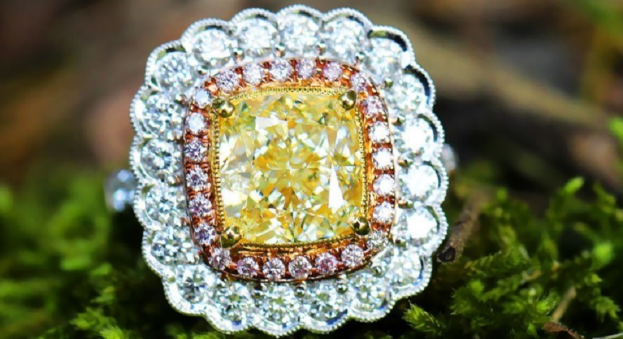 Fancy Yellow Cushion Diamond Engagement Ring 18K Tri-Color Gold 4.83ctw