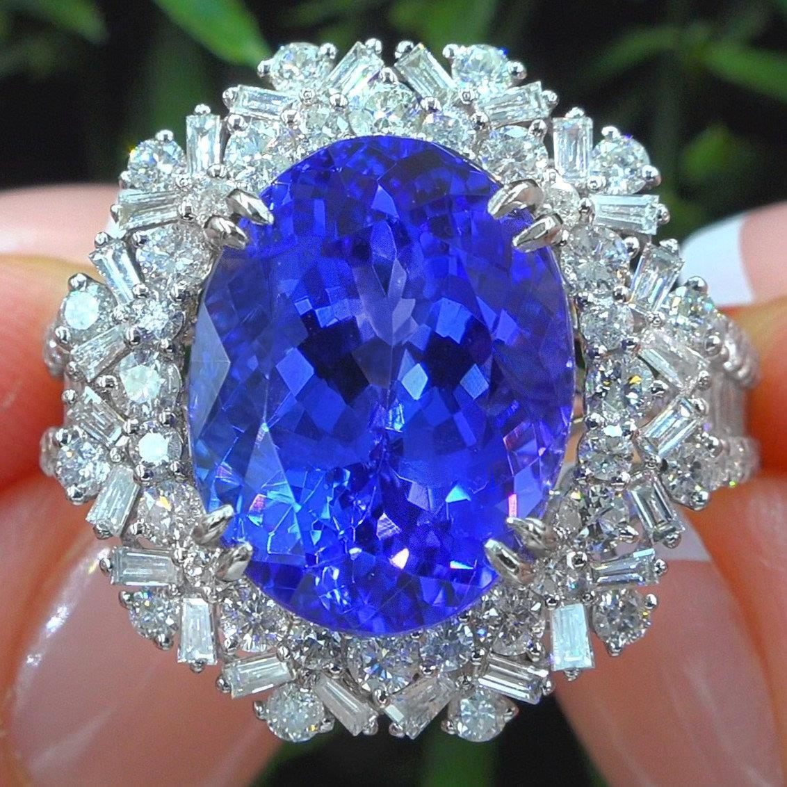 Tanzanite Diamond 18k Gold Estate Ring GIA Certified Top Quality GEM 14.24 TCW