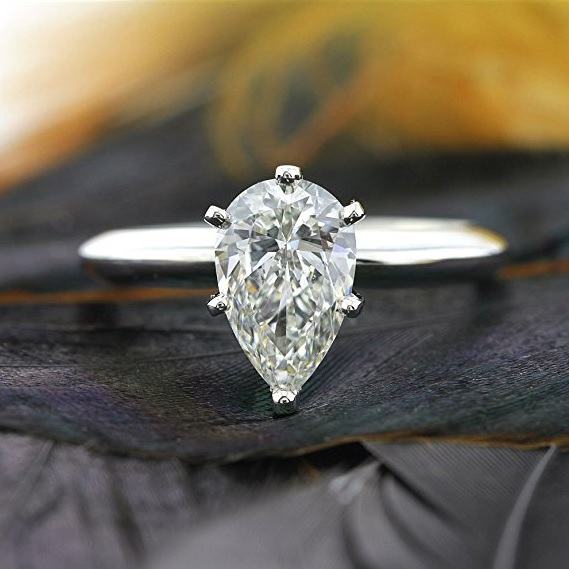 Mark Broumand 1.07ct Pear Shaped Diamond Solitaire Engagement Ring