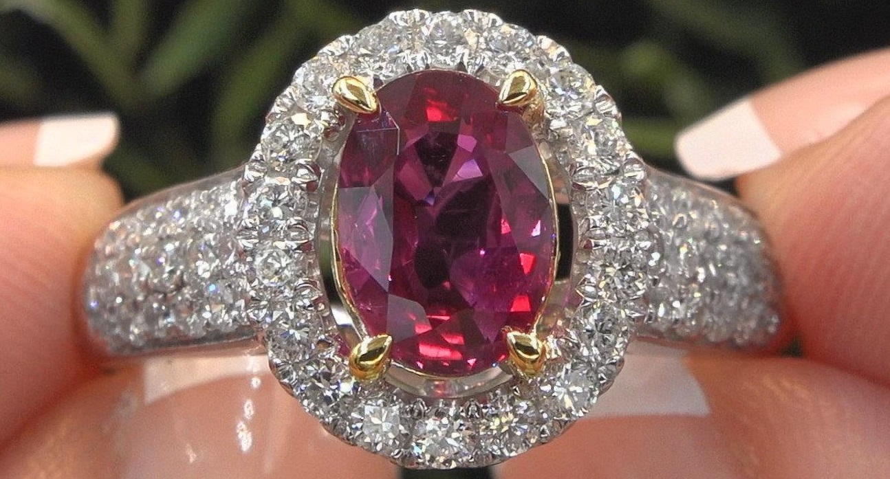 Ruby Diamond Engagement Halo Ring 14k Gold VS 2.99 TCW GIA Certified