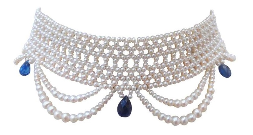Woven Pearl and Kyanite Choker by Marina J