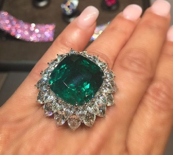 22 Carat Emerald and Diamond Ring by Bayco Jewelry