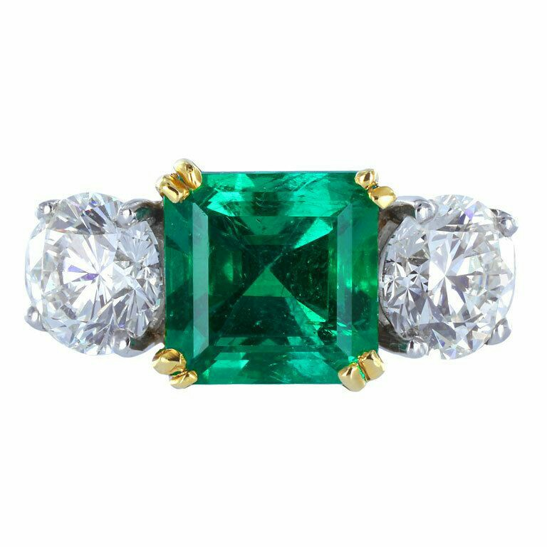 Emerald Diamond Gold Platinum Three-Stone Ring