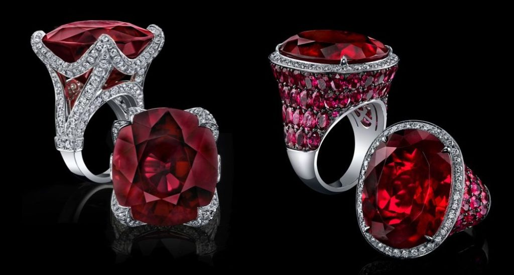 Rubellite and Ruby Rings by Robert Procop