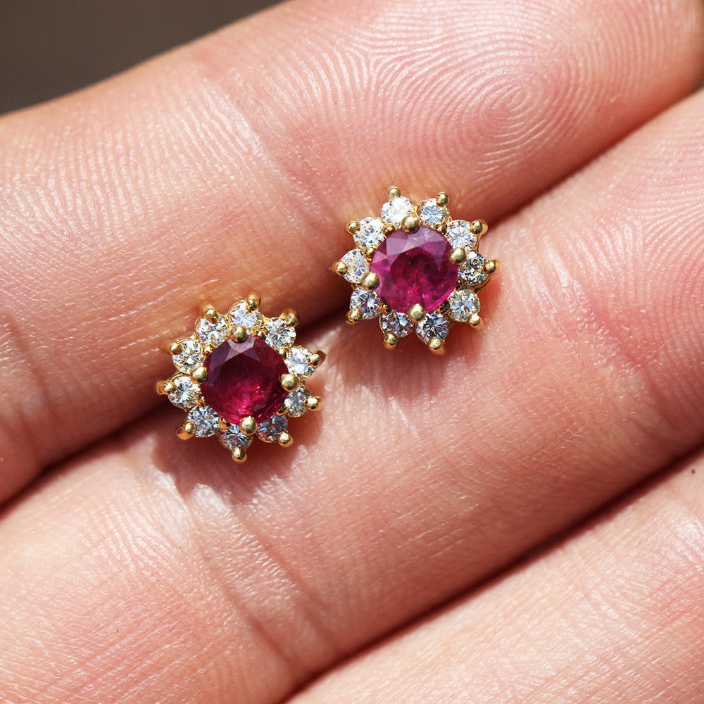 Estate Ruby Stud Earrings with Diamonds in 18kt Yellow Gold 1.60ctw