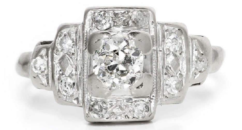 Vintage Art Deco Diamond Engagement Ring with Accents in 14kt White Gold .35ctw