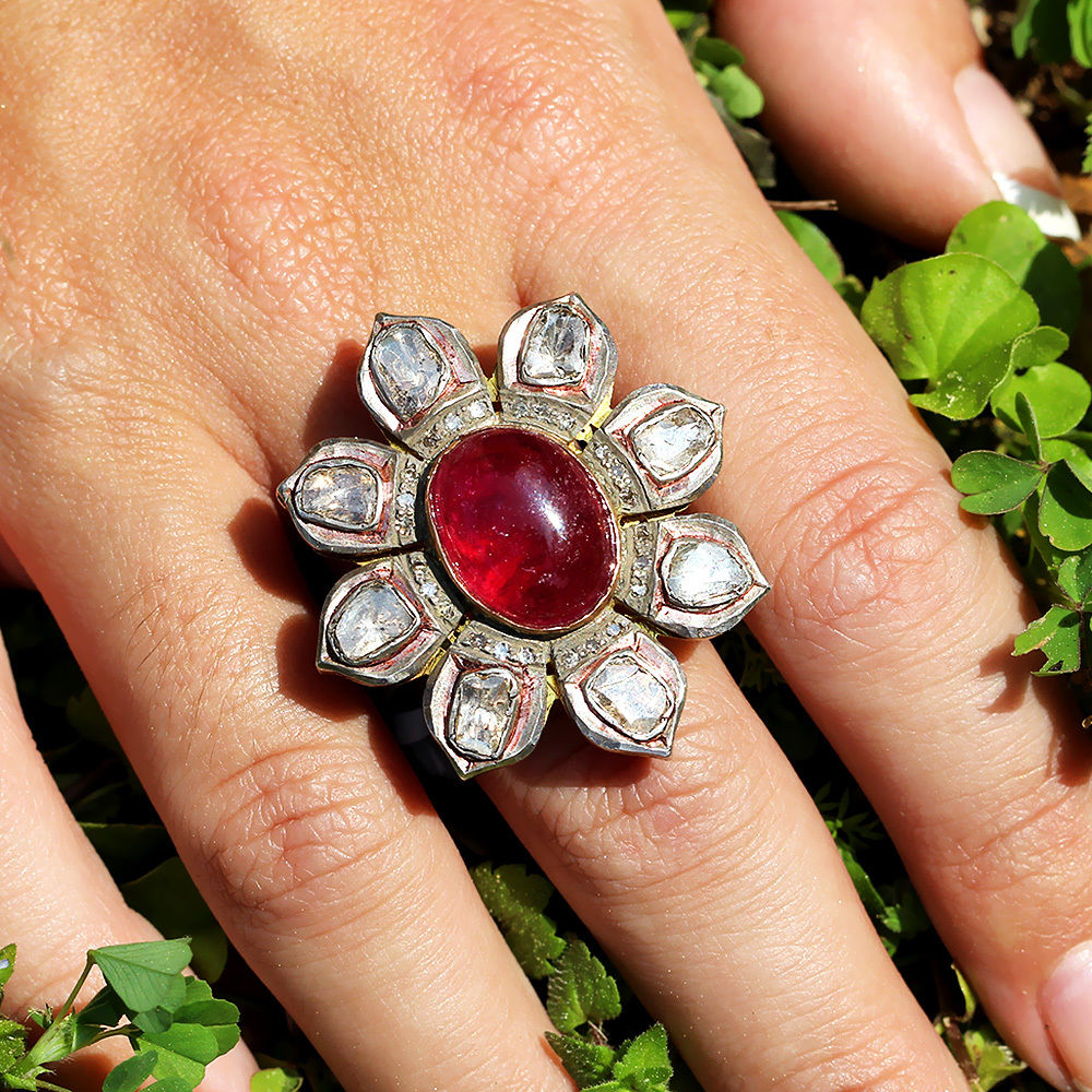 Rubellite Flower Ring with Bezel Set Diamonds in Sterling Silver 9.50ctw
