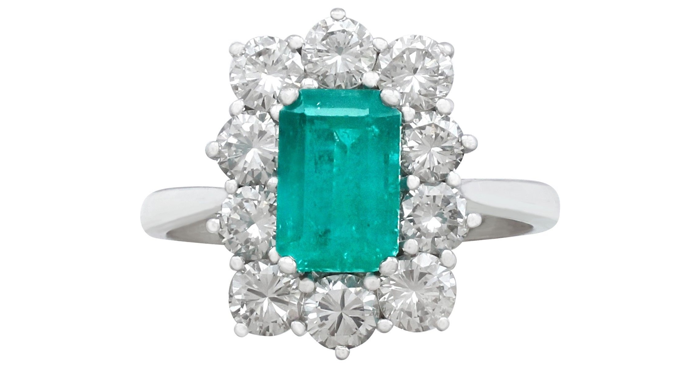 Vintage 1.57 Ct Emerald and 1.72 Ct Diamond, 18k White Gold and Cluster Ring