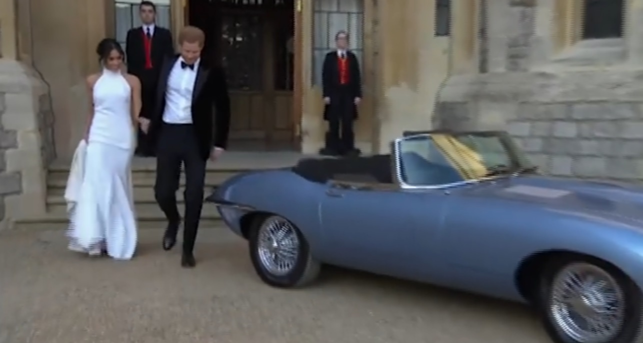The Duke and Duchess of Sussex have driven off into the sunset in a light blue 1968 Jaguar E-Type Concept Zero headed for the reception at Frogmore House.