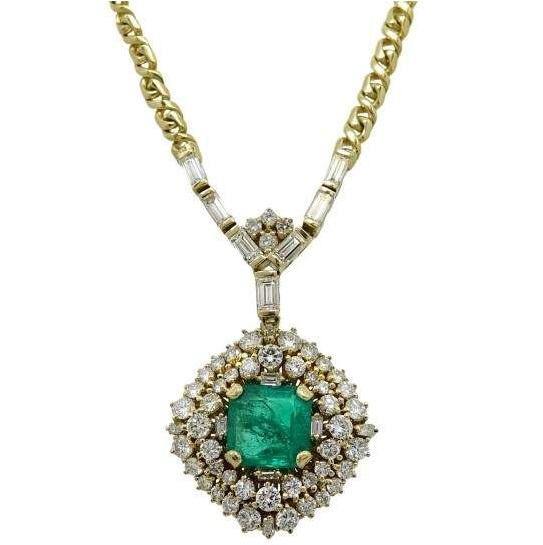 Gorgeous 18K Yellow Gold 5.05ct Colombian Emerald and 4.25ct Diamond Necklace