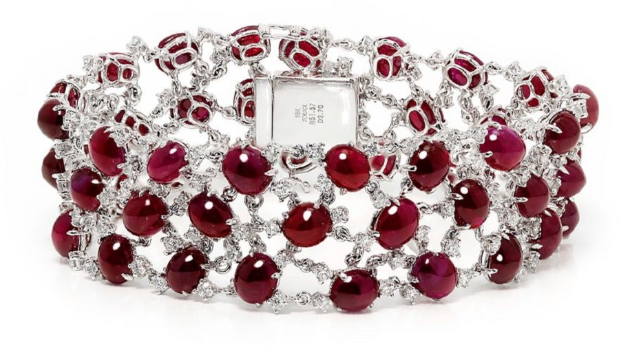 Cabochon Ruby Cluster Bracelet with Diamonds in 18kt White Gold 54.27ctw