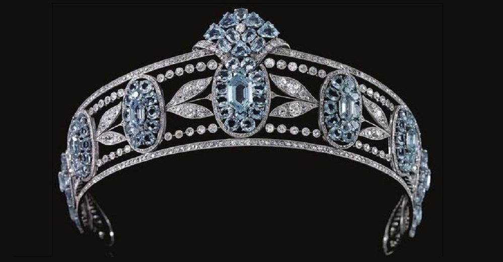 Belle Epoque Aquamarine and Diamond Tiara , circa 1910. Designed as a series of graduated oval aquamarine clusters set with oval- and hexagonal-shaped aquamarines, interspersed with sprays of diamond myrtle leaves, within millegrain borders of circular-, single- and rose-cut diamonds.