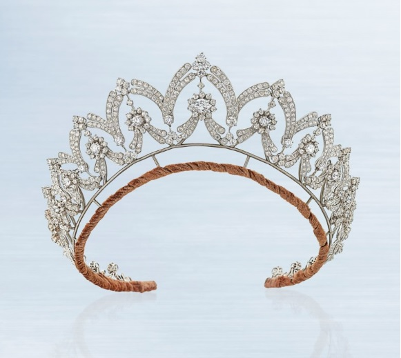 Art Déco Diamond Tiara/necklace, Boucheron, circular and old-cut diamonds, with tiara frame circa 1935. Diameter 48.5 cm, signed Boucheron RM, original fitted navy Boucheron case. Estimate: £35,000-45,000. Offered in Important Jewels on 13 June at Christie's in London