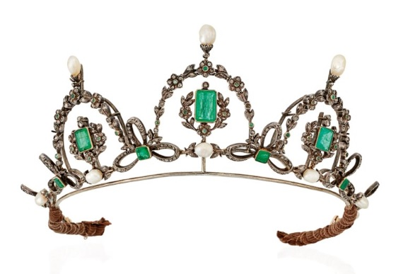 Late 19th Century Emerald and Diamond Tiara / Necklace. Square and rectangular-cut emeralds, rose-cut diamonds, silver and gold, with tiara frame, circa 1890, 35.0 cm. Estimate: £6,000-8,000. Offered in Important Jewels on 13 June at Christie's in London