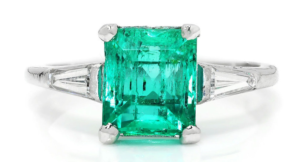 Vintage Colombian Emerald 3-Stone Ring with Diamonds Platinum 2.09ctw