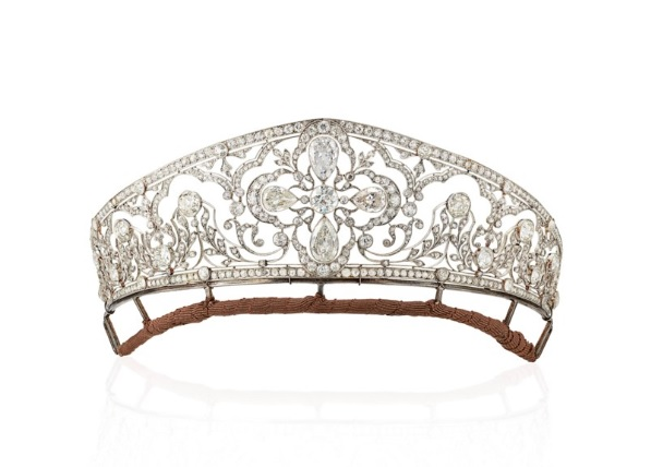 Important Belle Époque Diamond Tiara, old-cut, old pear-shaped and rose-cut diamonds, platinum circa 1905. Old-cut, old pear-shaped and rose-cut diamonds, platinum, circa 1905, inner circumference 21.2 cm. Formerly the property of HRH the Crown Princess of Yugoslavia, from the collection of the Princes of Orléans-Braganza. Estimate: £140,000-210,000.