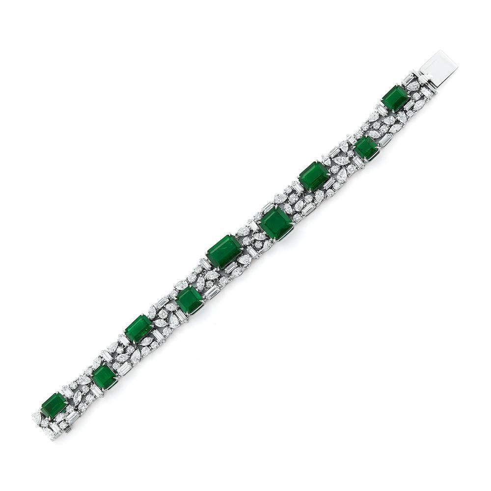 41.83 Ct Emerald and White Diamond Bracelet in Platinum